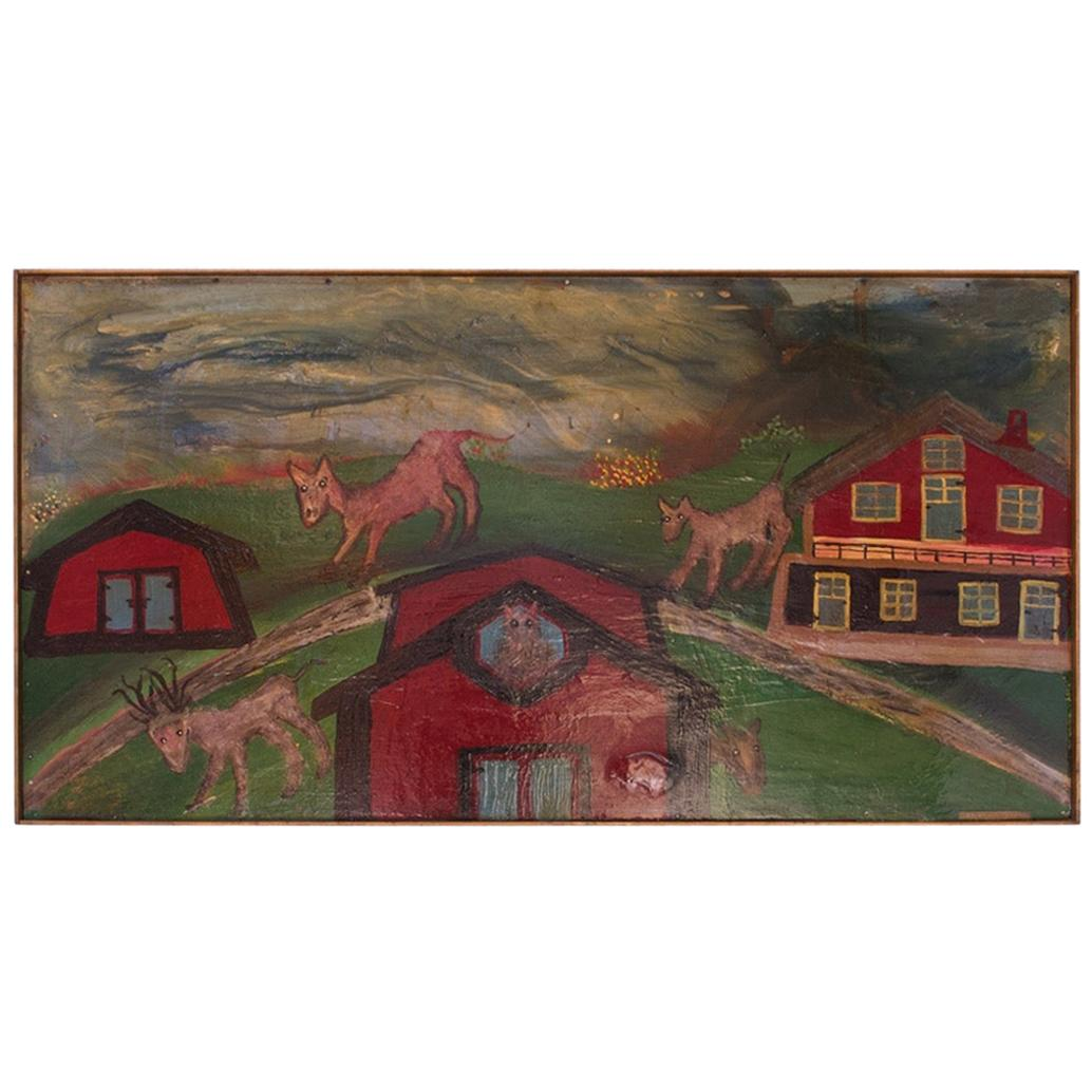 "Outsider Art ""Deer and Houses"" Oil on Panel Landscape by Bruno Del Favero"