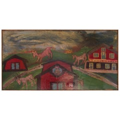 "Outsider Art ""Deer and Houses"" Oil on Panel Landscape by Bruno Del Favero"