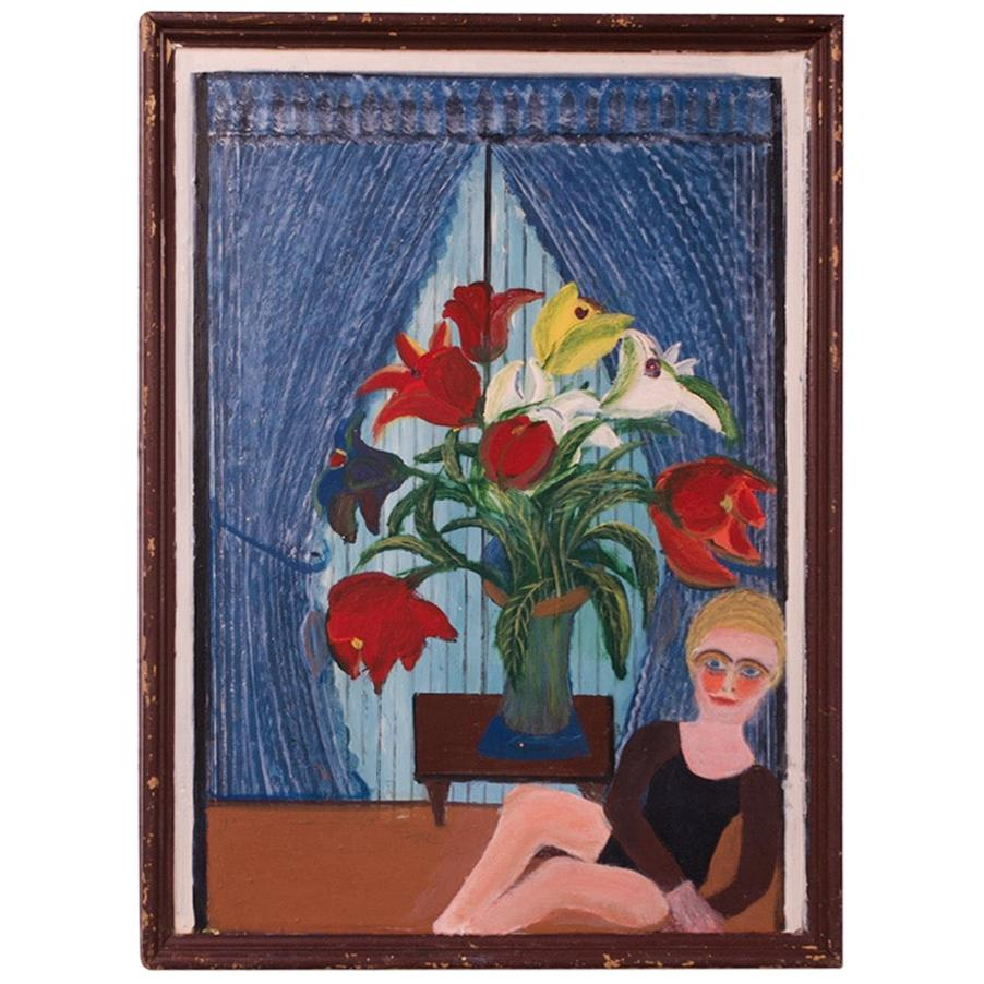 """Outsider Art """"Girl with Floral Arrangement"""" Acrylic on Panel by Bruno Del Favero"""