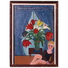 "Outsider Art ""Girl with Floral Arrangment"" Acrylic on Panel by Bruno Del Favero"