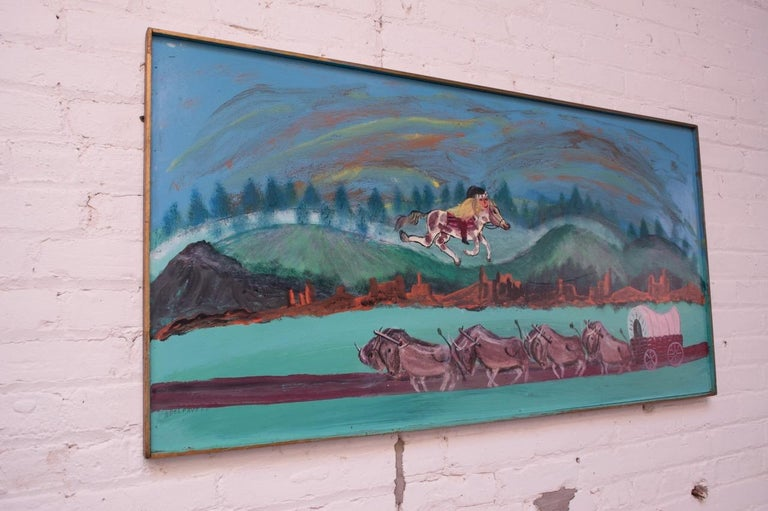 Oil on panel by acclaimed outsider artist, Bruno Del Favero (b. Italy 1910, d. USA 1995), circa 1970. Fine example showcasing Del Favero's aptitude for creating fantastical landscapes. This example depicts a Native American on horseback above an
