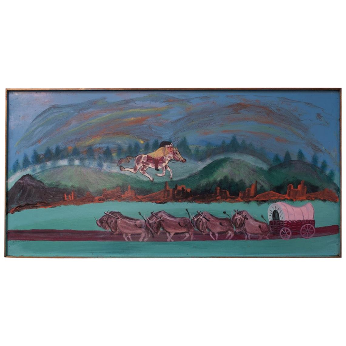 """Outsider Art """"Indian and Caravan"""" Oil on Panel by Bruno Del Favero"""