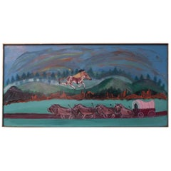 "Outsider Art ""Indian and Caravan"" Oil on Panel by Bruno Del Favero"