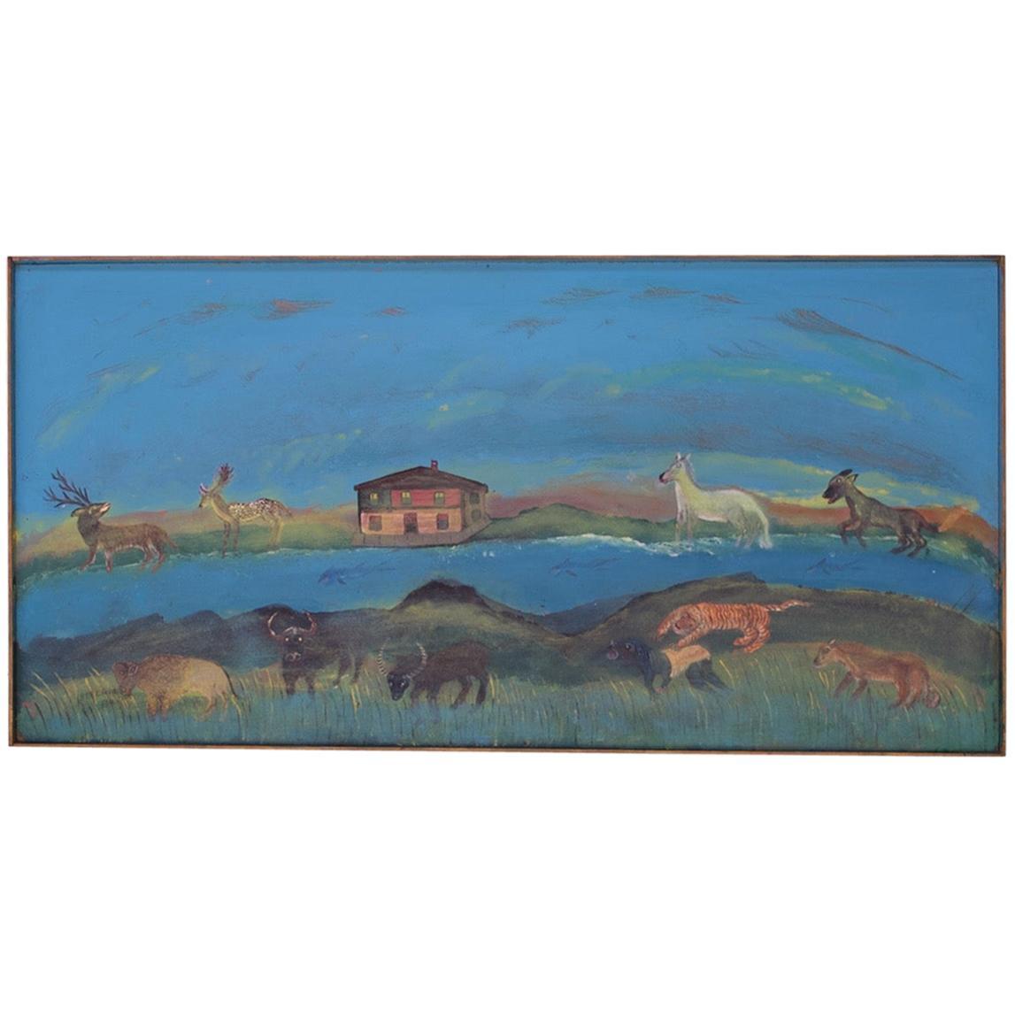 """Outsider Art """"Jungle Animal"""" Seascape Oil on Panel by Bruno Del Favero"""