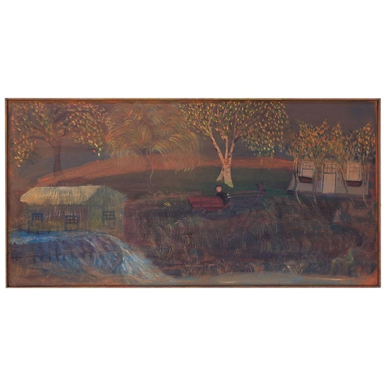 """Outsider Art """"Man in Carriage"""" Oil on Panel by Bruno Del Favero For Sale"""