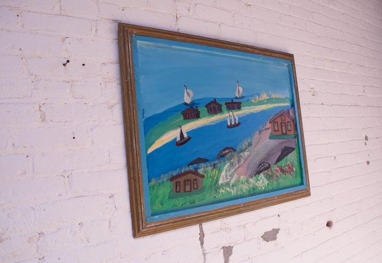 Folk Art Outsider Art Seascape Oil on Panel by Bruno Del Favero For Sale