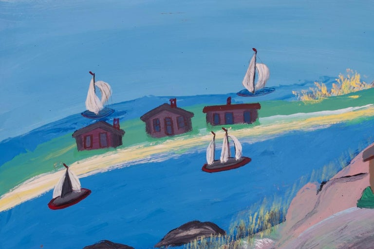 Outsider Art Seascape Oil on Panel by Bruno Del Favero In Good Condition For Sale In Brooklyn, NY