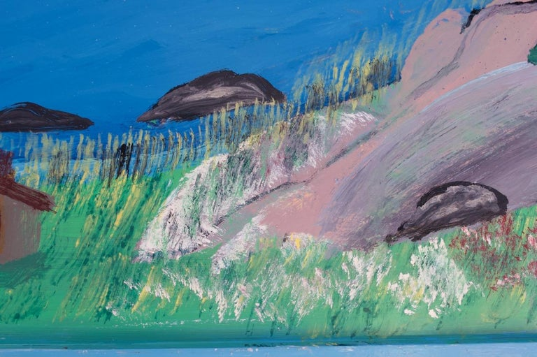 Late 20th Century Outsider Art Seascape Oil on Panel by Bruno Del Favero For Sale