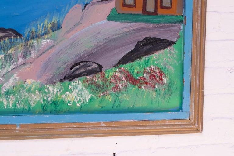 Outsider Art Seascape Oil on Panel by Bruno Del Favero For Sale 2