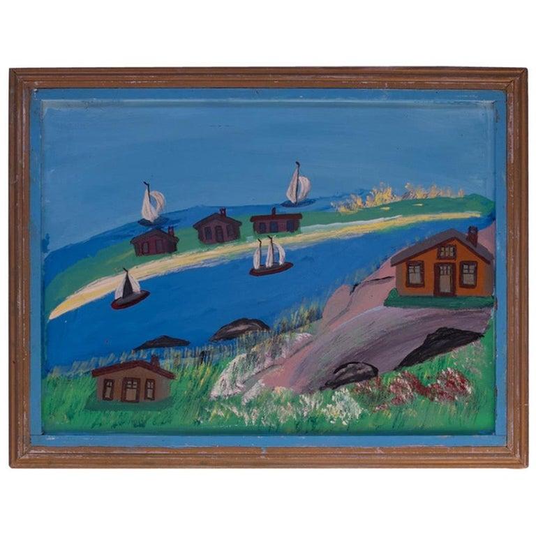 Outsider Art Seascape Oil on Panel by Bruno Del Favero For Sale