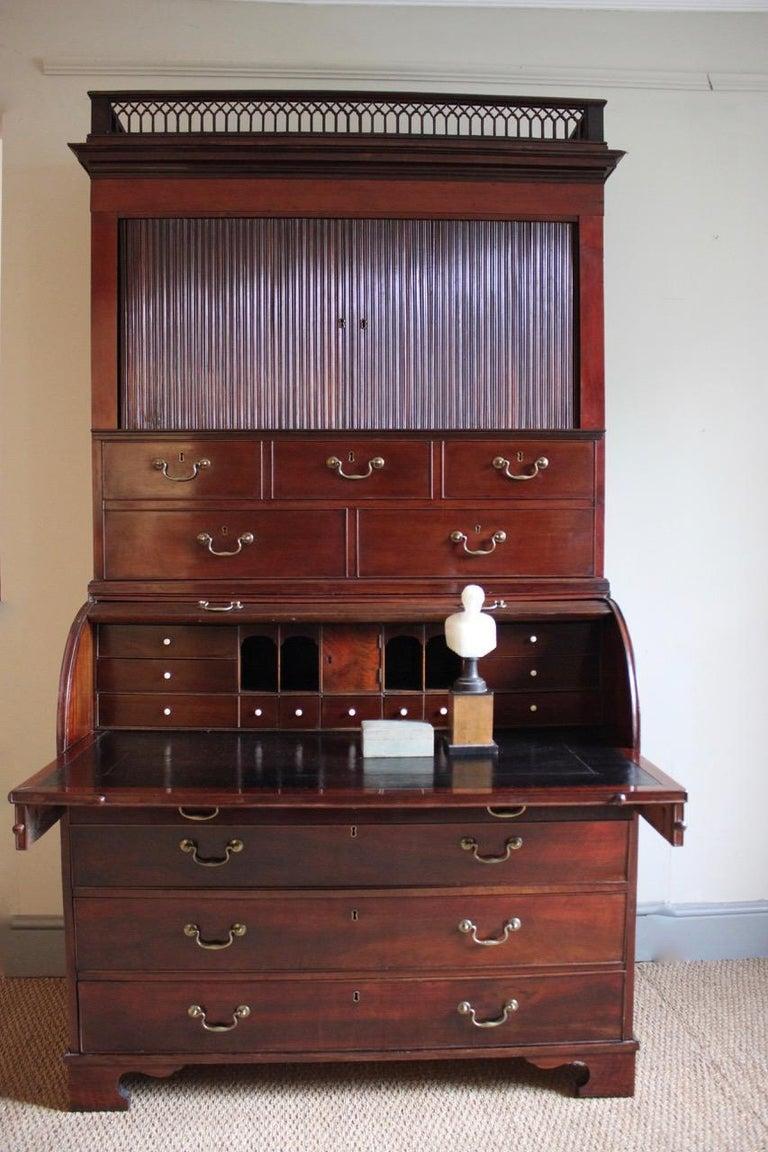 Outstanding 18th Century Danish Louis XVI Mahogany Bureau For Sale 1