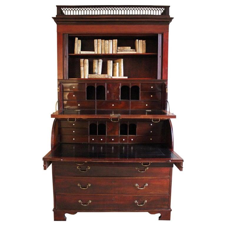 Outstanding 18th Century Danish Louis XVI Mahogany Bureau For Sale