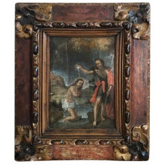 Outstanding 18th Century Oil Painting of Christ and John The Baptist