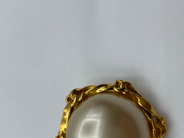 Women's 1995 Faux Pearl and Gilt Metal Clip-on Earrings For Sale