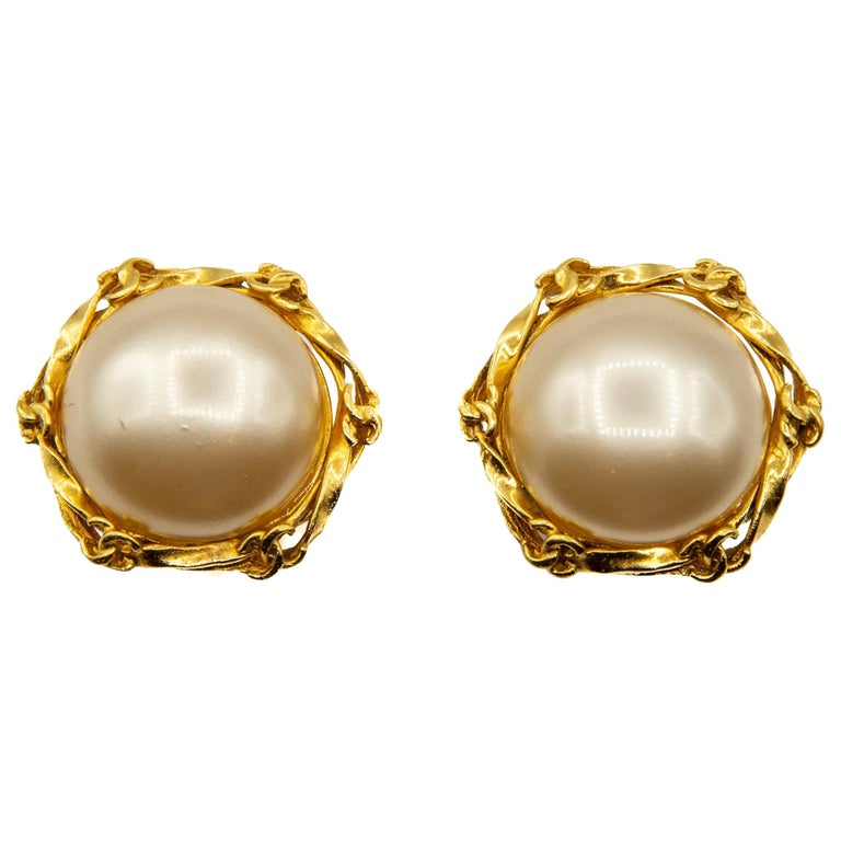 1995 Faux Pearl and Gilt Metal Clip-on Earrings For Sale