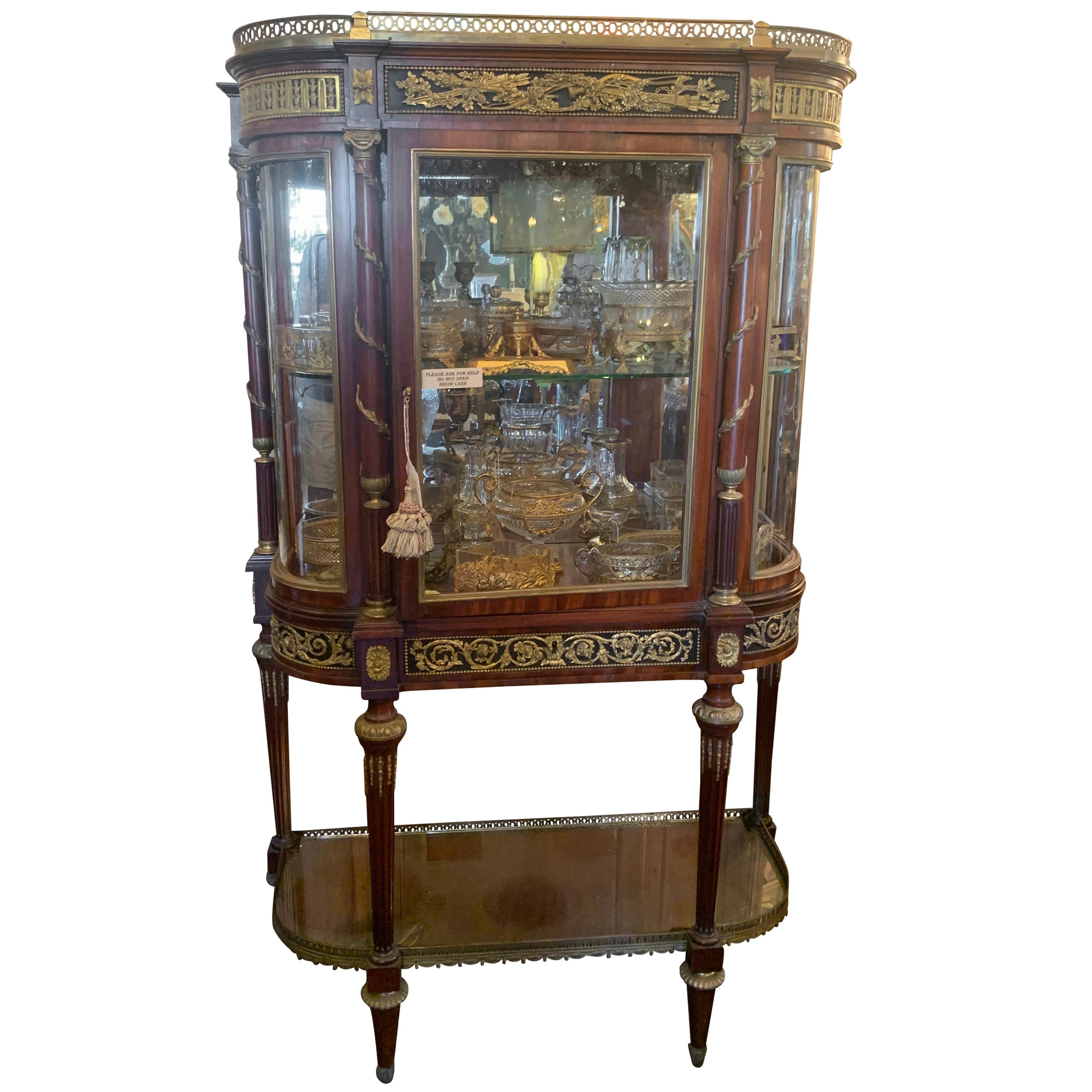 Outstanding 19th Century French Rosewood Ormolu Bronze Mounting Vitrine Curio