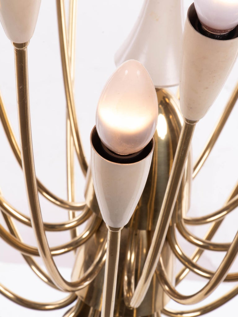 Mid-Century Modern Monumental Brass & Enamel Sputnik Chandelier, 1950s For Sale