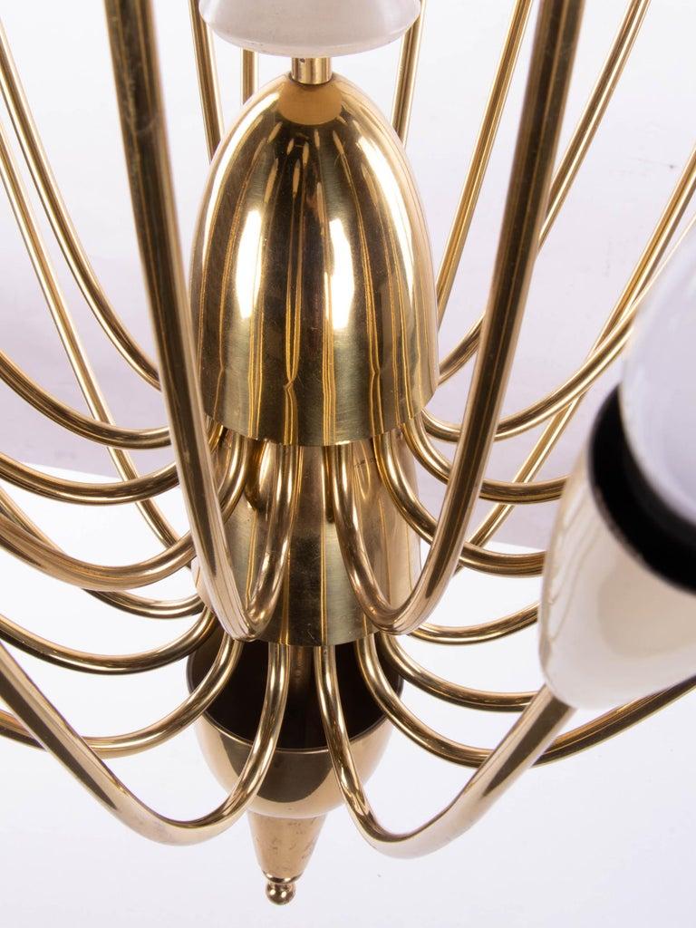 Mid-20th Century Monumental Brass & Enamel Sputnik Chandelier, 1950s For Sale