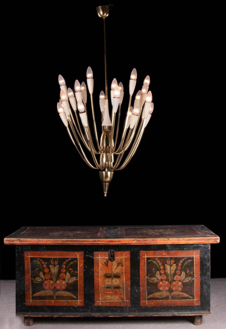 Monumental Brass & Enamel Sputnik Chandelier, 1950s For Sale 2