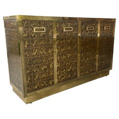 Outstanding Acid Etched Brass Cabinet by Bernard Rohne for Mastercraft