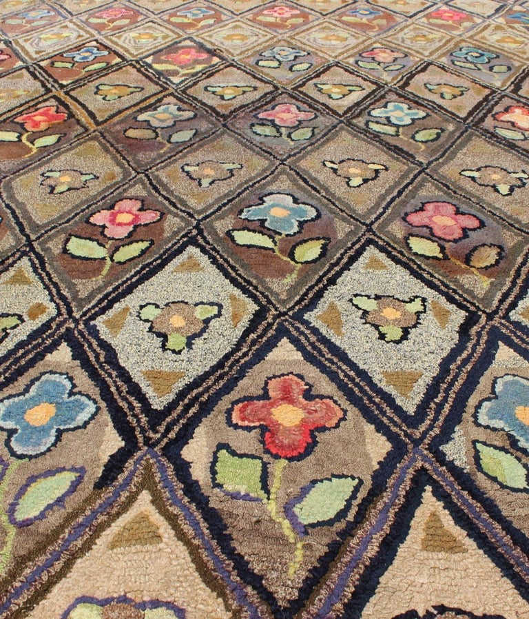 Outstanding Antique American Hooked Rug with Diamond Floral Design For Sale 3
