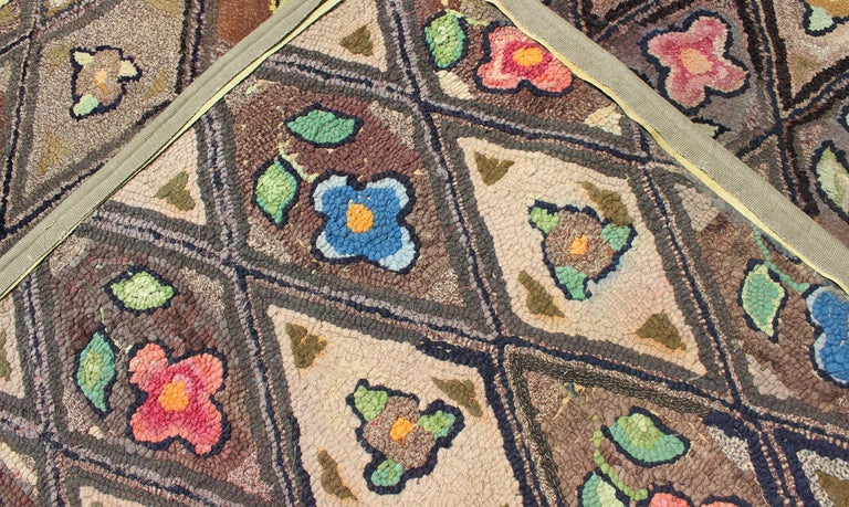 Outstanding Antique American Hooked Rug with Diamond Floral Design For Sale 4