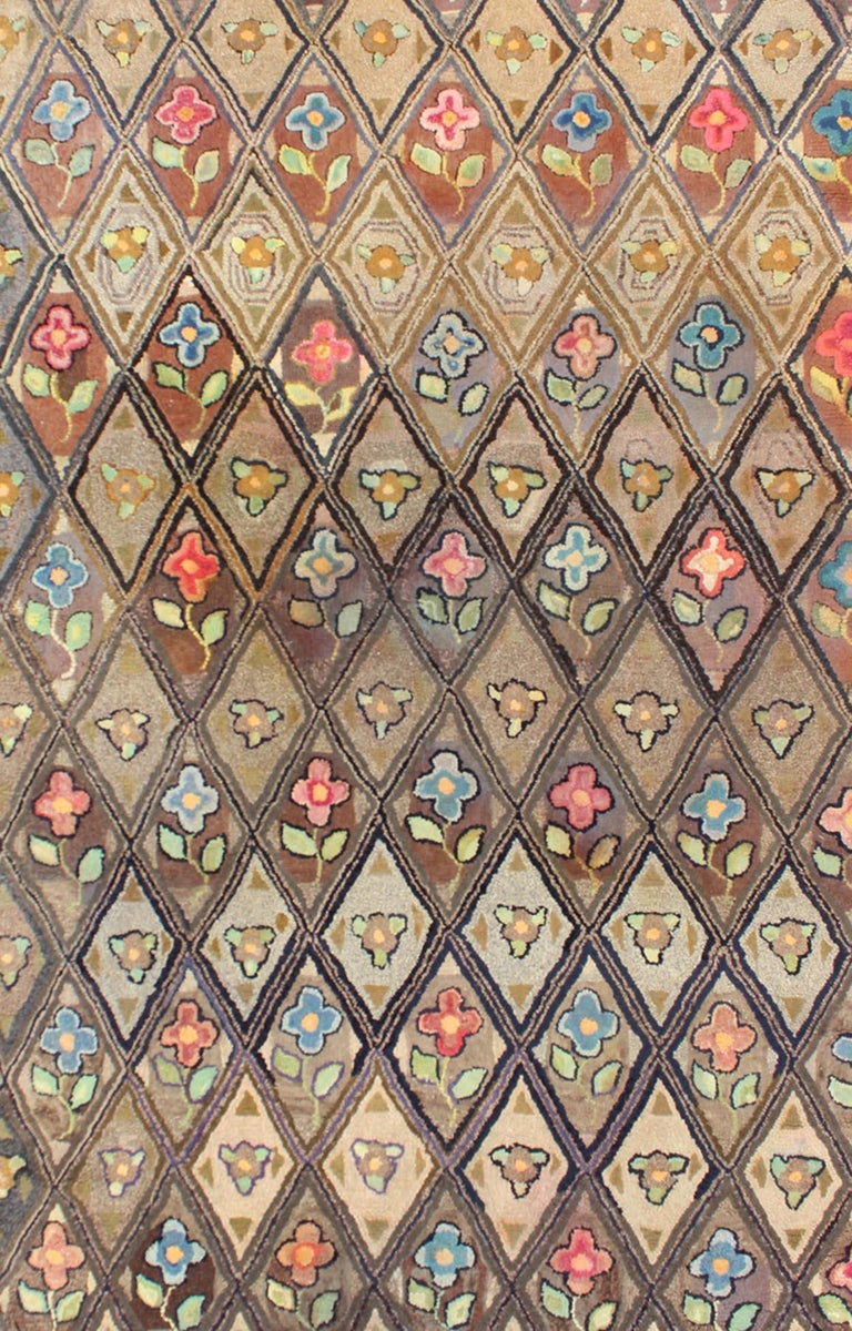 American Craftsman Outstanding Antique American Hooked Rug with Diamond Floral Design For Sale