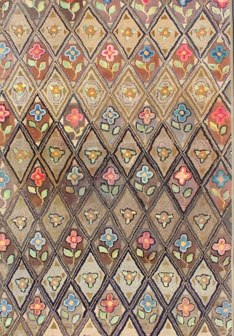 Hand-Knotted Outstanding Antique American Hooked Rug with Diamond Floral Design For Sale