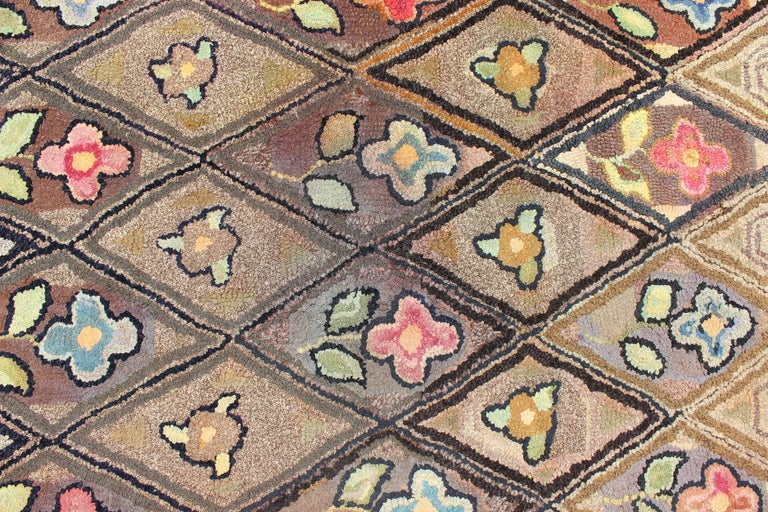 Late 19th Century Outstanding Antique American Hooked Rug with Diamond Floral Design For Sale