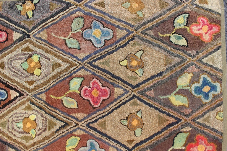 Wool Outstanding Antique American Hooked Rug with Diamond Floral Design For Sale