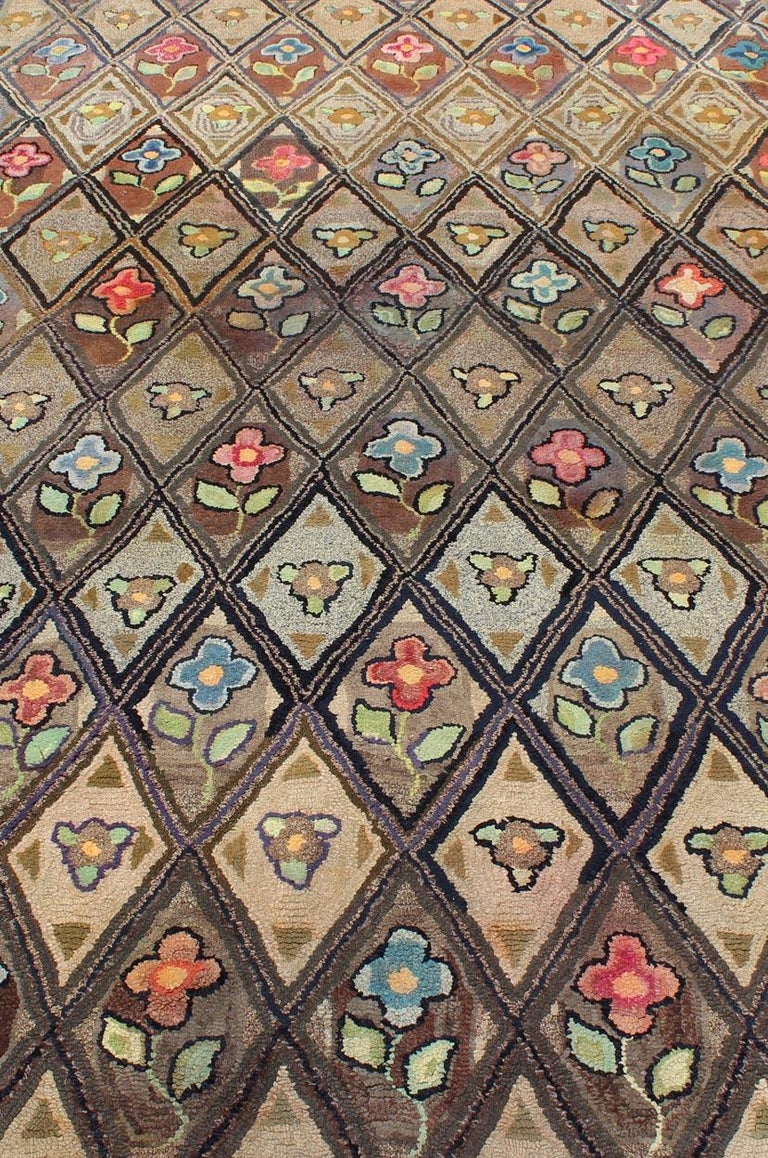 Outstanding Antique American Hooked Rug with Diamond Floral Design For Sale 2