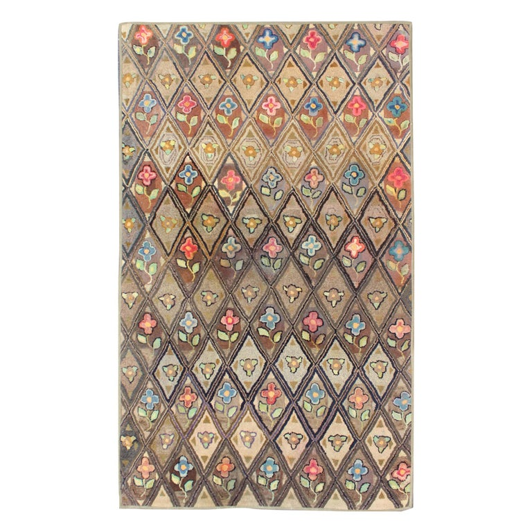 Outstanding Antique American Hooked Rug with Diamond Floral Design For Sale