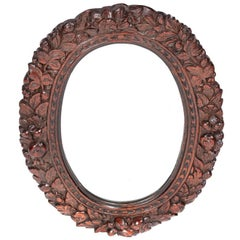 Outstanding Antique Carved Oak Oval Wall Mirror