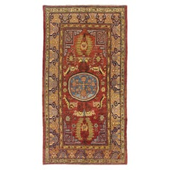 5.6x10.3 Ft Outstanding Antique Hand-Knotted Khotan Rug, ca 1820, 100% Wool