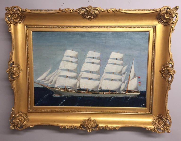 Late 19th Century Outstanding Antique Nautical Painting with Ornate Giltwood Frame For Sale