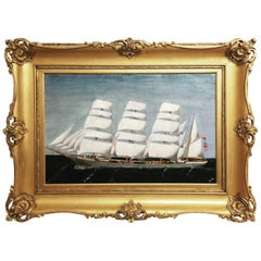 Outstanding Antique Nautical Painting with Ornate Giltwood Frame