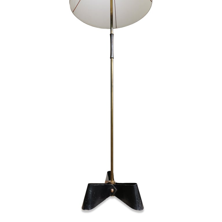 Enameled Outstanding Bronze & Wrought Iron Floor Lamp in the Style of Royère, 1950s For Sale