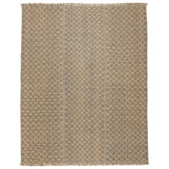 Outstanding Contemporary Room Size Geometric Kilim Rug in Bronze on Taupe