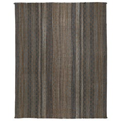Outstanding Contemporary Room Size Geometric Kilim Rug with Bronze on Indigo