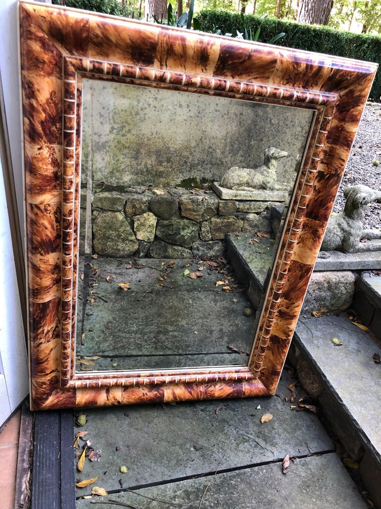 American Outstanding Custom Faux Painted Tortoise Shell Mirror For Sale