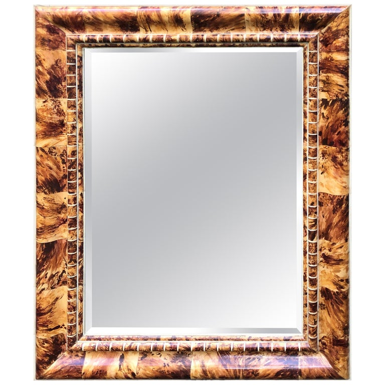 Outstanding Custom Faux Painted Tortoise Shell Mirror For Sale