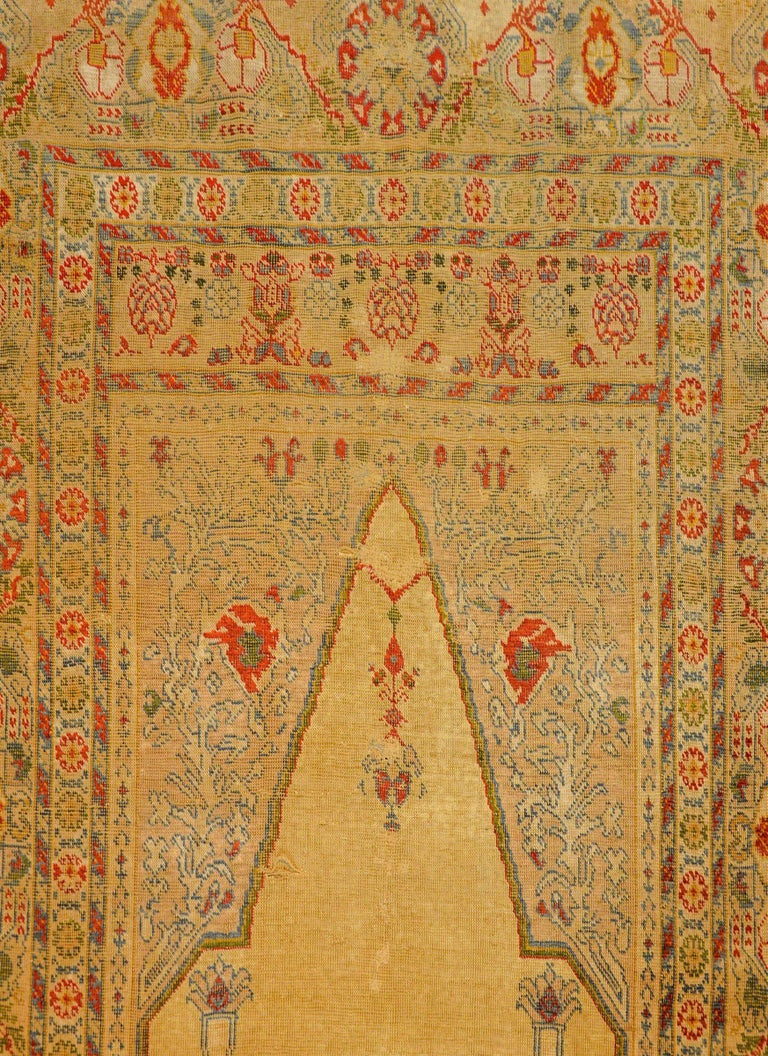 Outstanding Early 20th Century Turkish Silk Prayer Rug For Sale 1