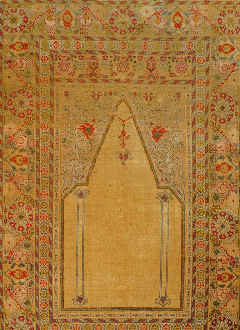 Outstanding Early 20th Century Turkish Silk Prayer Rug For Sale 5