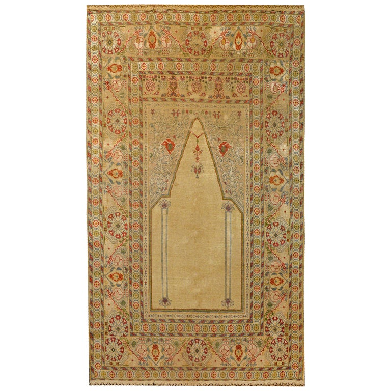 Outstanding Early 20th Century Turkish Silk Prayer Rug For Sale