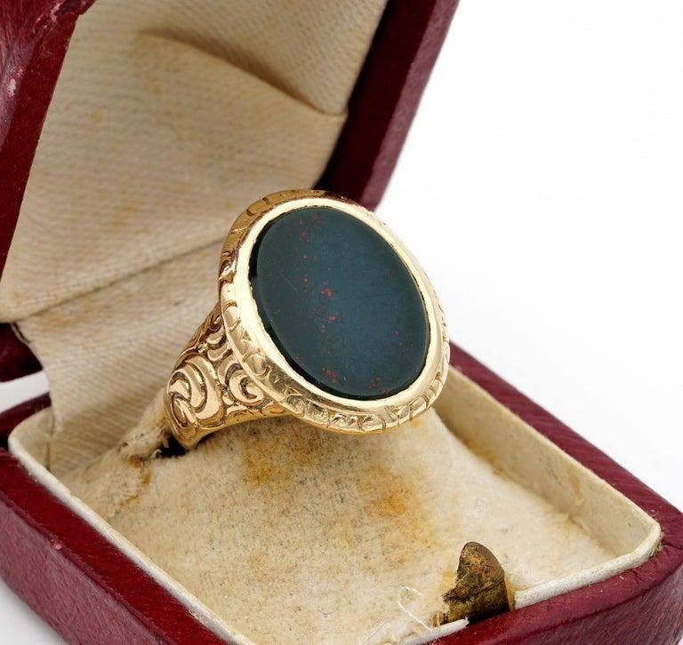 Women's or Men's Outstanding Embossed Victorian Unisex Bloodstone Signet Ring 15 Karat Gold For Sale