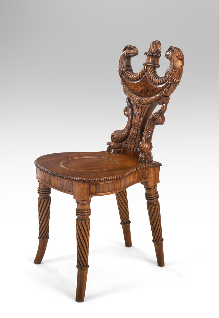 Outstanding English Regency Mahogany Hall Chair For Sale 2