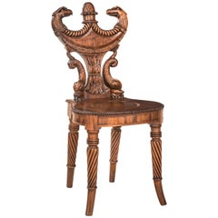 Outstanding English Regency Mahogany Hall Chair
