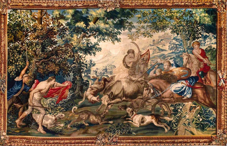 Belgian Outstanding Flemish Historical Tapestry The Bull Hunting, 17th Century For Sale