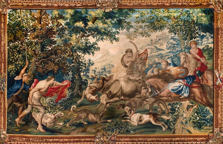 Outstanding Flemish Historical Tapestry The Bull Hunting, 17th Century For Sale 3