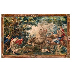 Outstanding Flemish Historical Tapestry The Bull Hunting, 17th Century